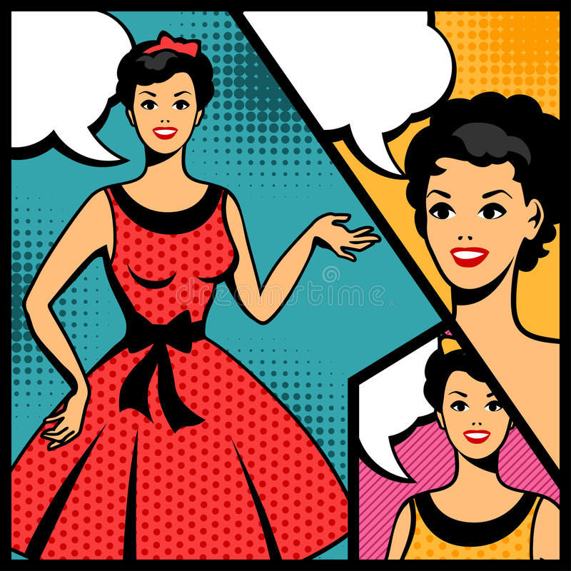 Illustration of retro girl in pop art style royalty free illustration