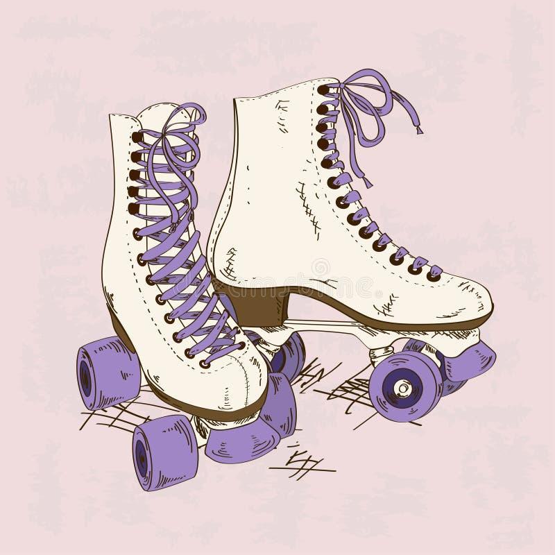 Illustration with retro roller skates. On a grunge background vector illustration