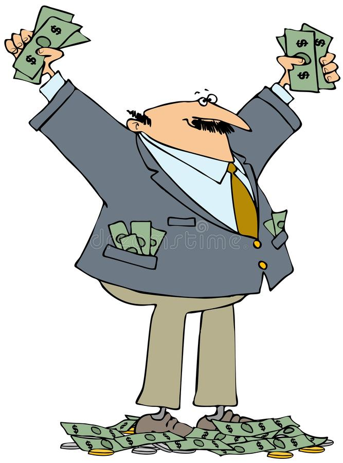 Rich businessman with lots of cash royalty free illustration
