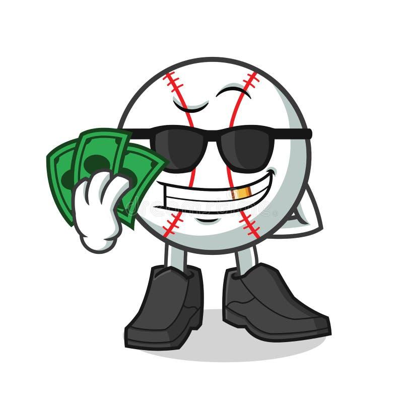 Illustration riche de bande dessinée de vecteur de mascotte de base-ball illustration libre de droits