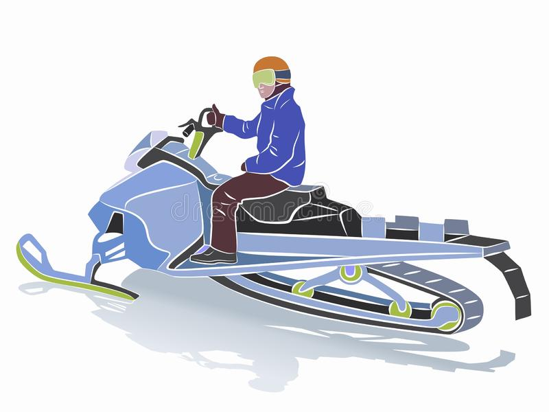 Illustration of a rider on a snow scooter , vector draw royalty free illustration