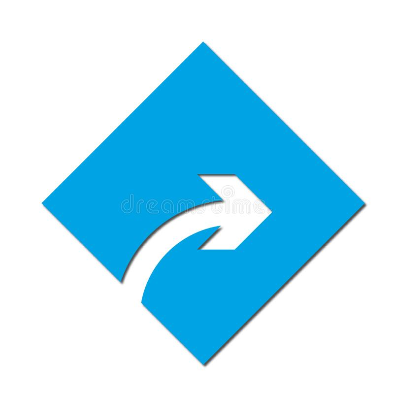 Arrow to turn right Icon symbol or button, paper cut style. Illustration of the right arrow direction with a paper cut design style royalty free illustration
