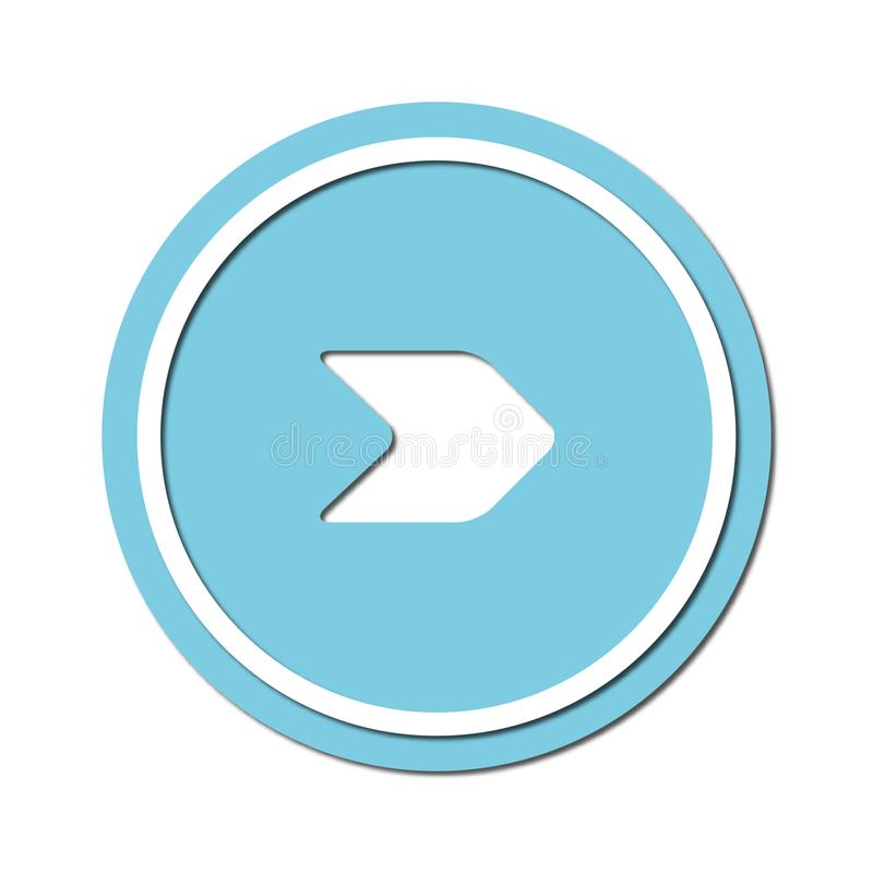 Arrow to turn right Icon symbol or button, paper cut style. Illustration of the right arrow direction with a paper cut design style vector illustration