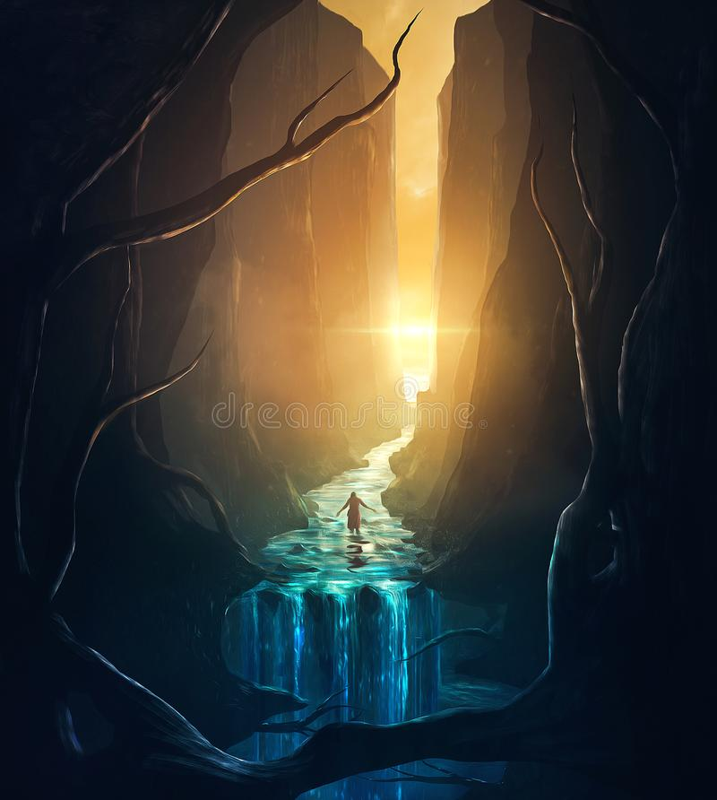 Illustration of river and waterfall. A woman stands in the middle of a stream in between tall mountains vector illustration