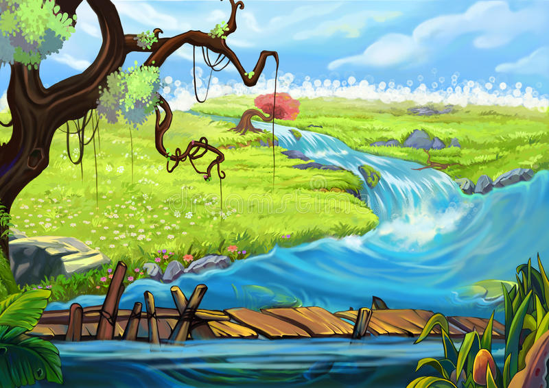 Illustration: The Riverside. Tree, Flowery Fields, and Bridge. vector illustration
