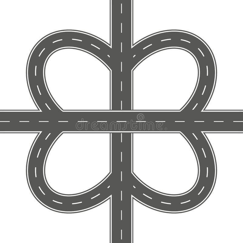 Illustration of road junction vector illustration