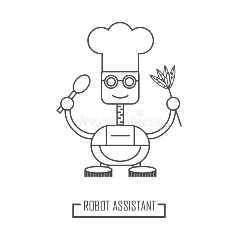 Illustration of a robot cook. Robotic assistant in the kitchen royalty free illustration