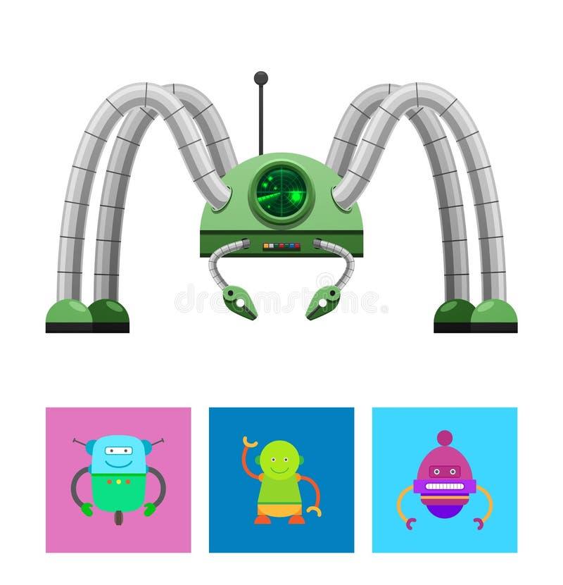 Illustration robotique de vecteur de collection de créatures illustration libre de droits