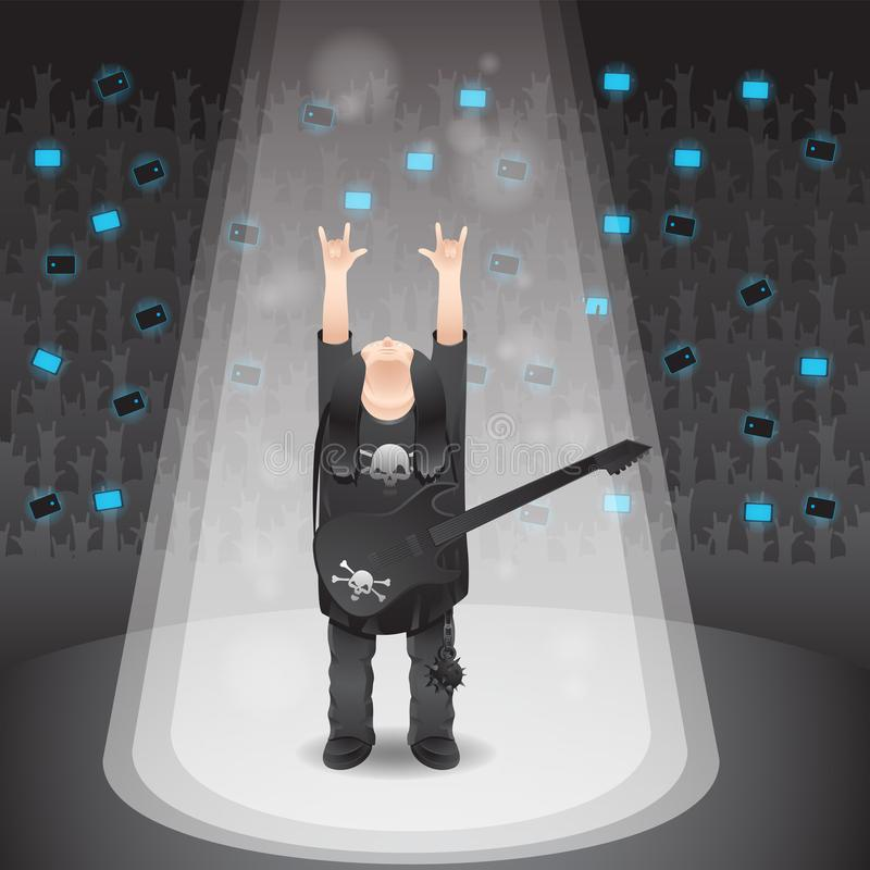 Illustration of a rock singer showing off a horn gesture on an isolated background. Vector image royalty free illustration