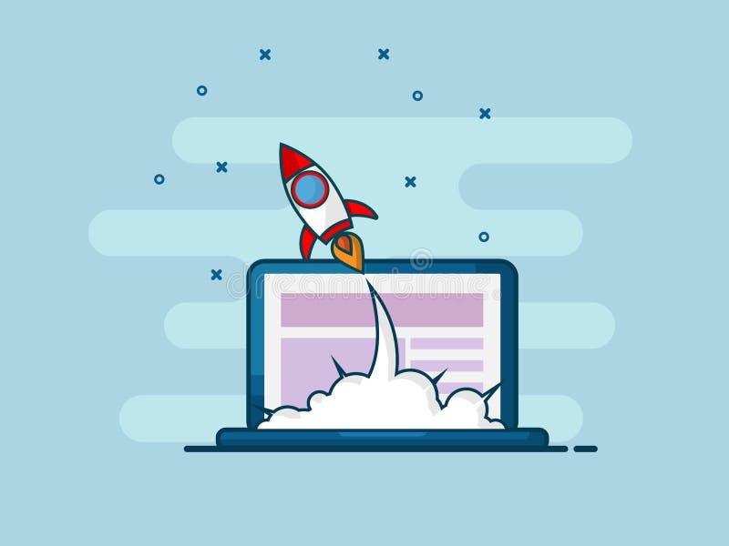 Illustration of rocket startup launch from laptop flat line desi vector illustration
