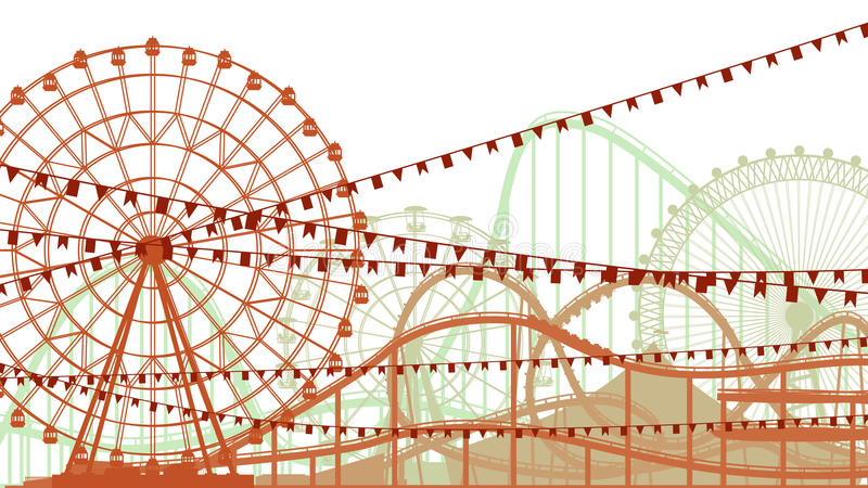 Illustration of roller-coaster and Ferris Wheel. Horizontal illustration of roller-coaster and Ferris Wheel from amusement park vector illustration