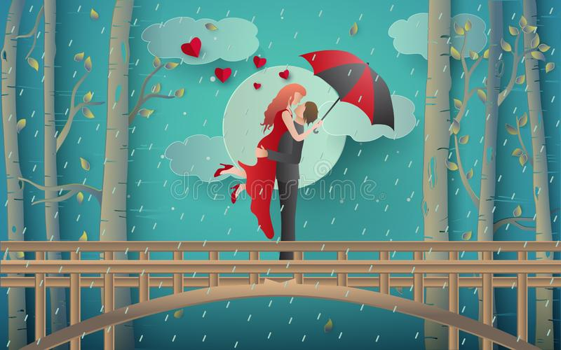 Illustration of romantic couple kissing on the bridge and rainy forest. Art paper and digital craft style stock illustration