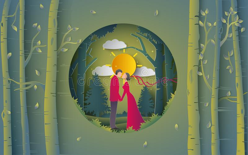 Illustration of romantic kissing on the bridge and forest. Illustration of romantic couple kissing on the bridge and forest. paper art and digital craft style royalty free illustration