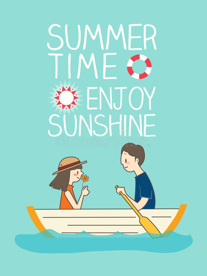 Illustration of romantic young couple boating. With summer time enjoy sunshine text in background stock illustration