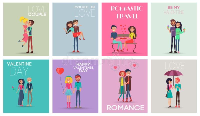 Illustration romantique de vecteur de voyage de couples d'amour illustration de vecteur