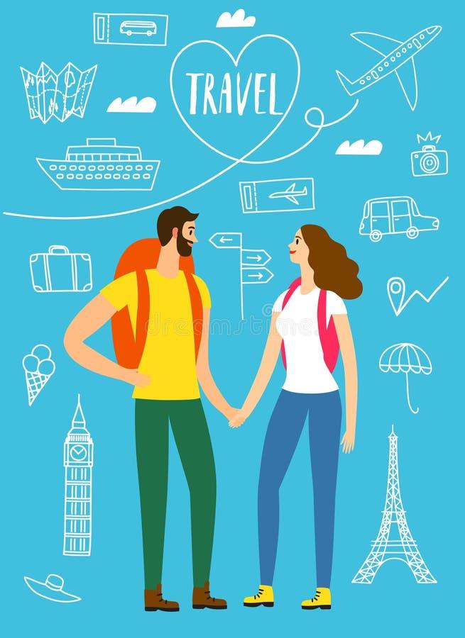 Illustration romantique de voyageurs avec des dessins de griffonnage illustration libre de droits