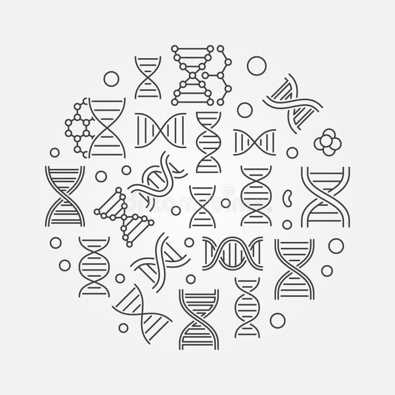 Illustration ronde d'acide désoxyribonucléique Symbole d'ADN illustration libre de droits