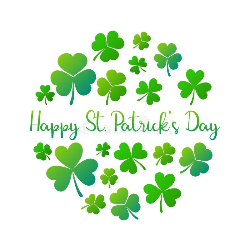 Illustration ronde de l'Irlande de St Patricks de vecteur heureux de jour illustration de vecteur
