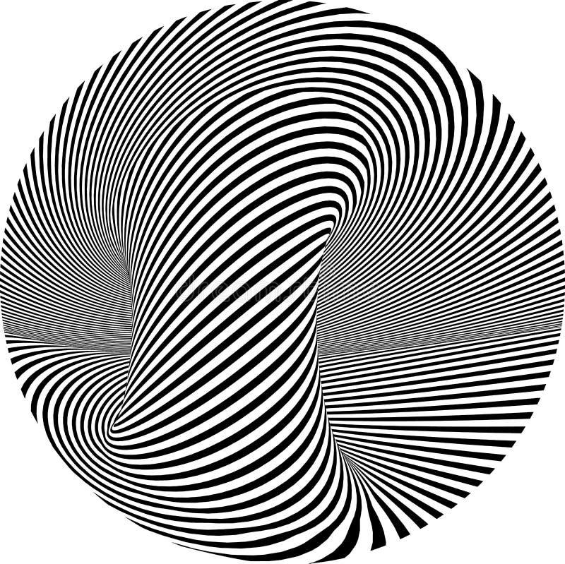 Illustration ronde rayée abstraite d'illusion optique de vecteur de forme illustration stock