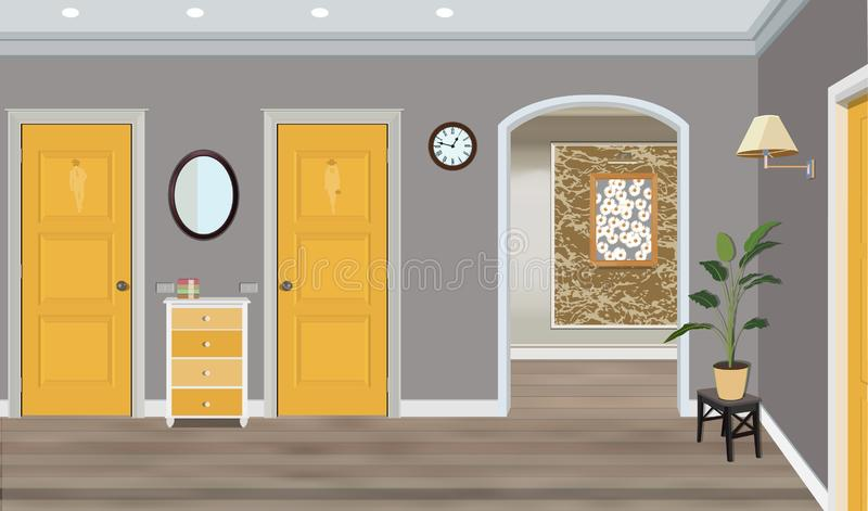 Illustration of a room with yellow doors, stool, flowers and commode. Interior of the room with furniture royalty free stock photo