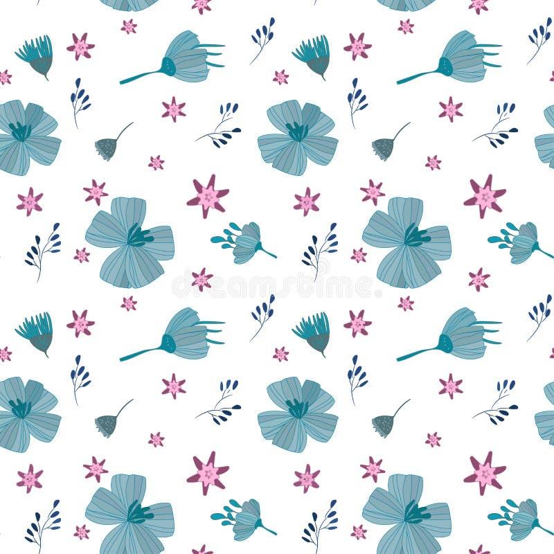 Illustration, rosa der Blumen blaues, nahtloses Muster stock abbildung