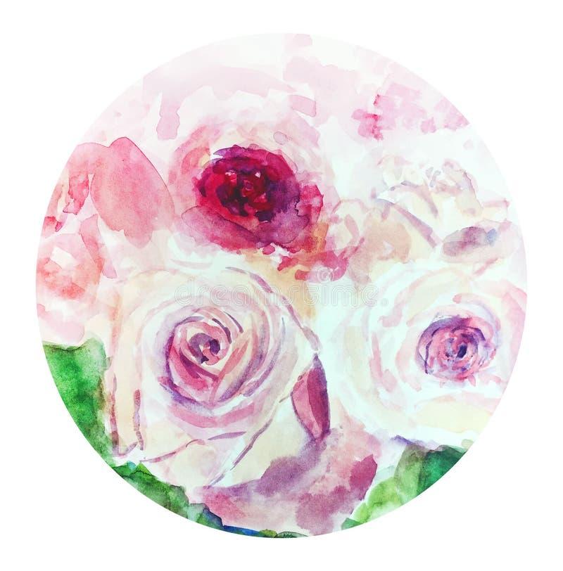 Illustration rose d'aquarelle de roses en cercle illustration libre de droits