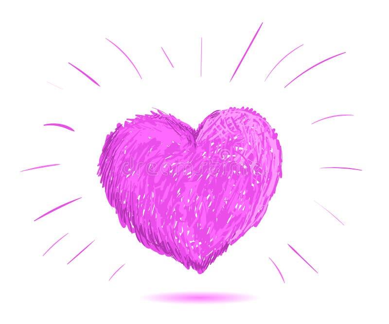 Illustration rose de coeur Tiré par la main illustration libre de droits