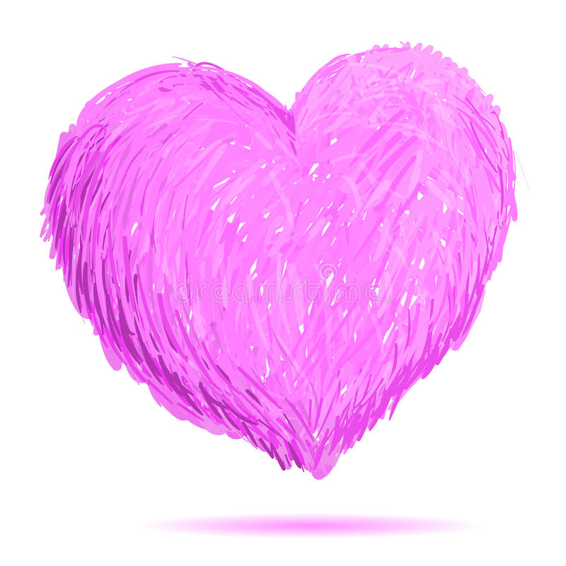 Illustration rose de coeur Tiré par la main illustration de vecteur