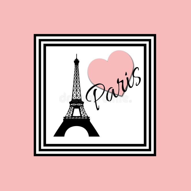 Illustration rose de conception des textes de Paris illustration stock