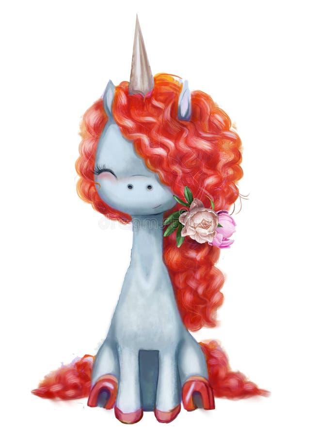 Illustration rose de licorne d'aquarelle illustration libre de droits