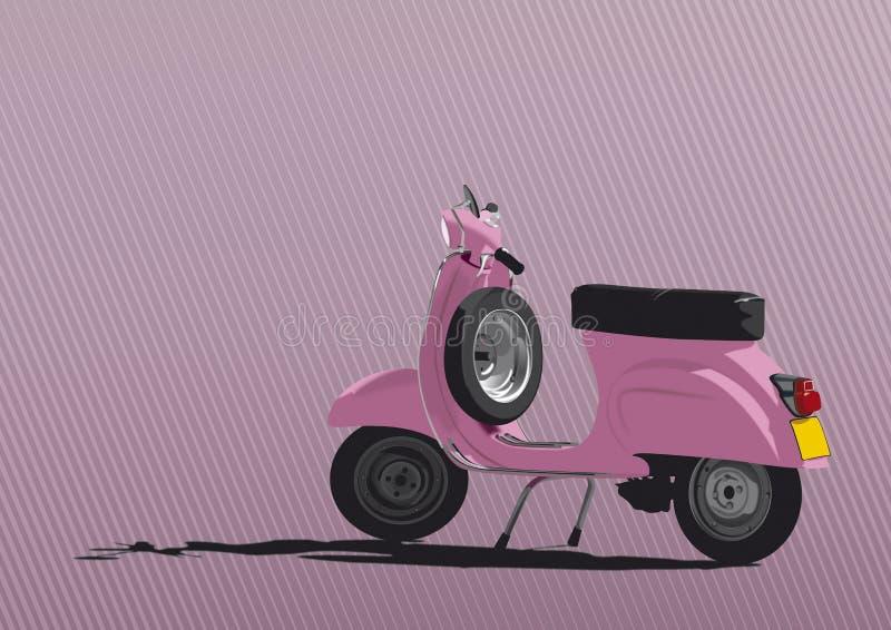 Illustration rose de scooter illustration libre de droits