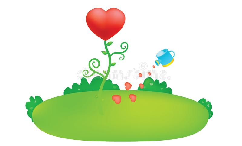 Illustration rose de vecteur d'arbre de coeur d'amour pour la conception illustration libre de droits