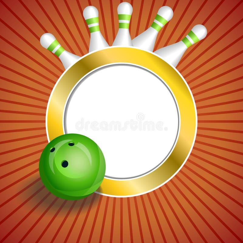 Illustration rouge abstraite de cadre de cercle d'or de boule de bowling green de fond illustration stock
