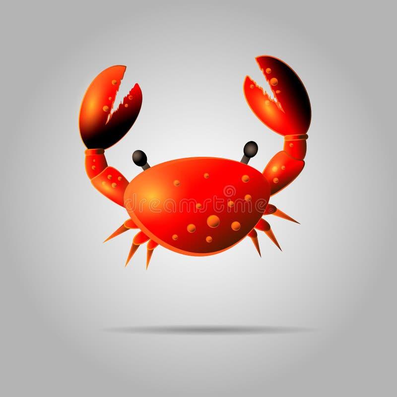 Illustration rouge colorée de crabe Icône de crabe de Shell d'isolement sur le fond gris Animal de l'eau avec des griffes illustration de vecteur