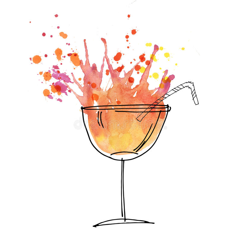 Illustration rouge d'aquarelle d'éclaboussure de cocktail illustration stock