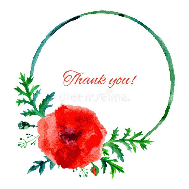 Illustration rouge d'aquarelle de fleur de pavot d'isolement sur le fond blanc, cadre de rond, peinture artistique tirée par la m illustration de vecteur