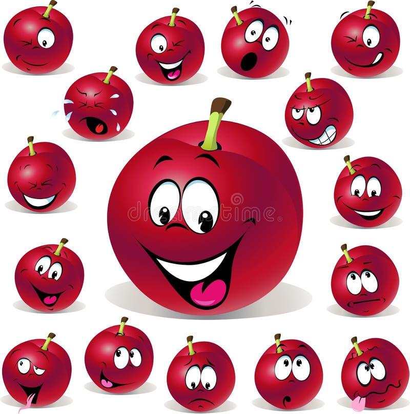 Illustration Rouge De Bande Dessinée De Prune Avec Des Beaucoup Expression Photos stock