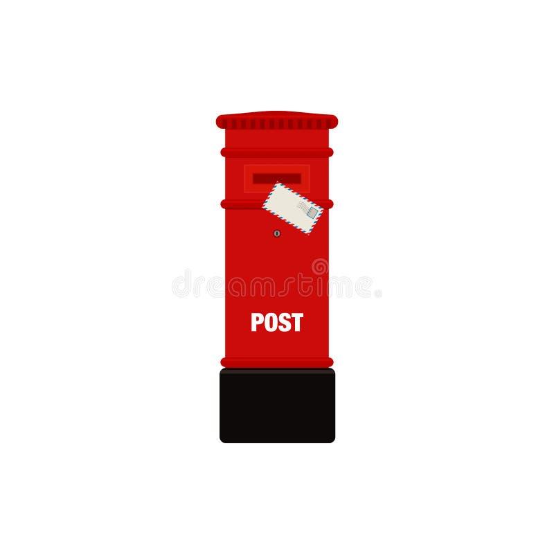 Illustration rouge de boîte de courrier de courrier illustration de vecteur