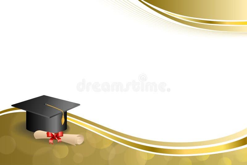 Illustration rouge de cadre d'or d'arc d'éducation de fond d'obtention du diplôme de diplôme beige abstrait de chapeau images libres de droits