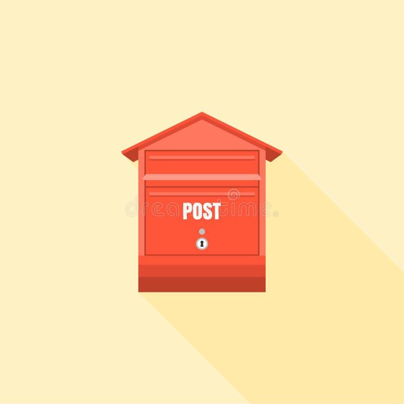 Illustration rouge de courrier de boîte aux lettres d'isolement avec la longue ombre illustration de vecteur