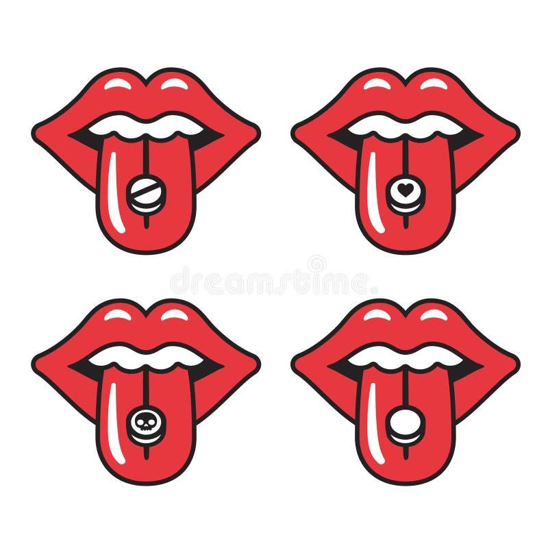 Illustration rouge de languettes illustration libre de droits