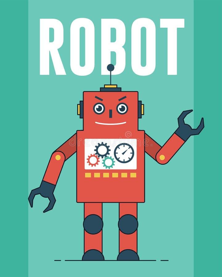 Illustration rouge de robot illustration libre de droits