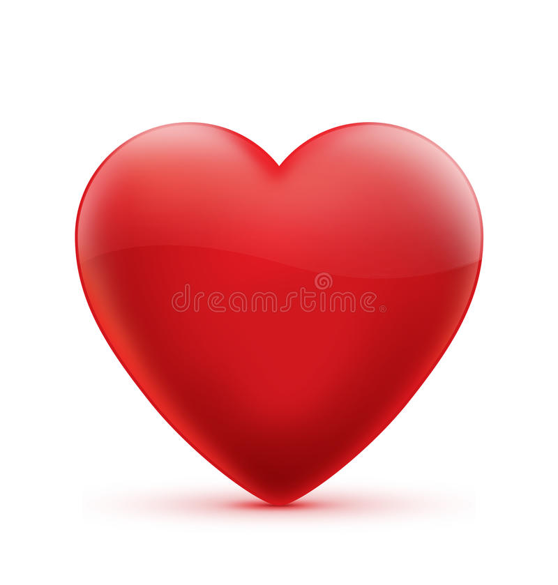 Illustration rouge de symbole de coeur d'isolement photo stock