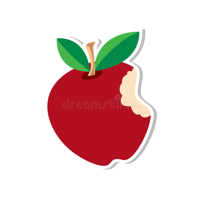 Illustration rouge de vecteur d'autocollant d'Apple illustration stock