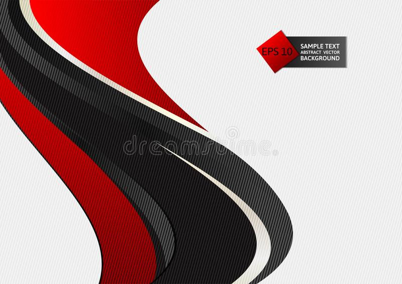 Illustration rouge et noire de vecteur de fond d'abrégé sur vague de couleur illustration de vecteur