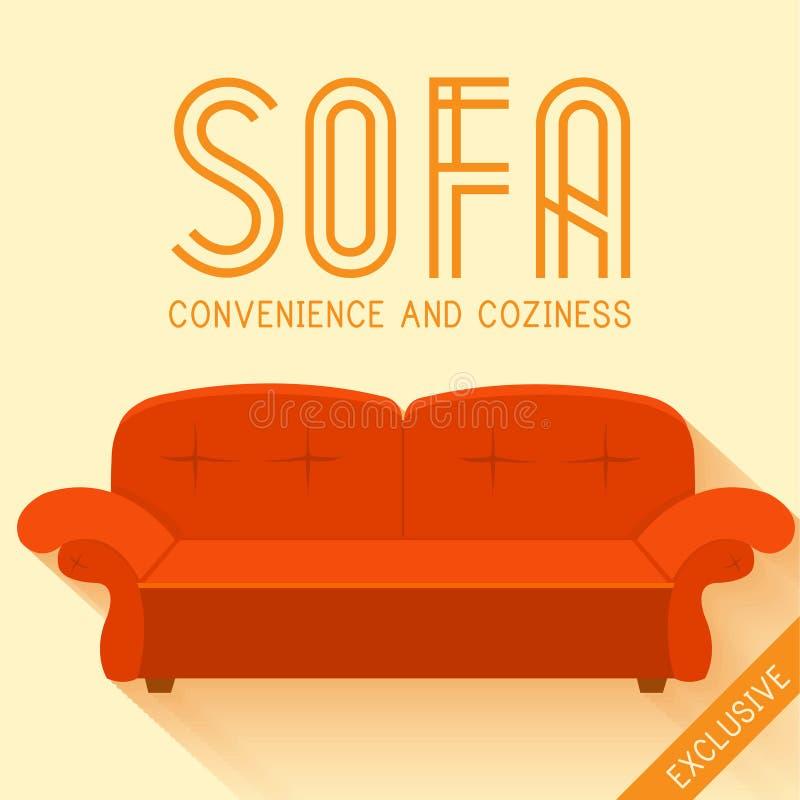 Illustration rouge plate de vecteur de fond de sofa illustration de vecteur