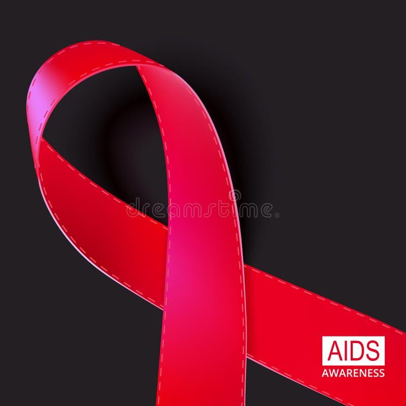 Illustration rouge réaliste de vecteur de ruban sur le fond noir Symbole du SIDA, HIV, maladie cardiaque, signe de conscience de  illustration stock