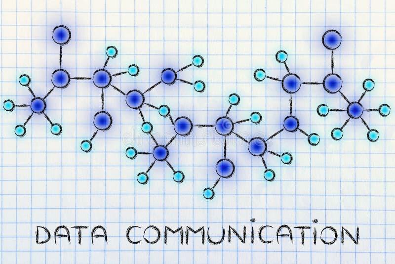 Illustration rougeoyante abstraite de réseau avec des données Communicati des textes photo stock