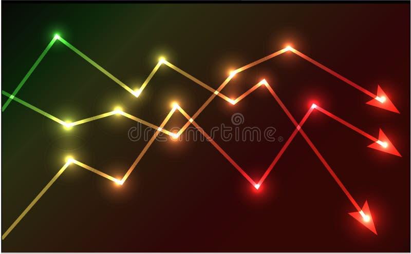 Illustration rougeoyante de vecteur de flèches de diagramme illustration de vecteur