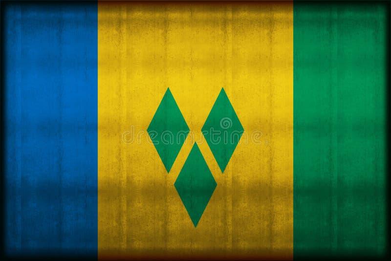 Illustration rouillée de drapeau du Saint-Vincent-et-les Grenadines illustration stock